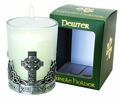 Irish Celtic Cross Pewter Candle Holder - Ireland