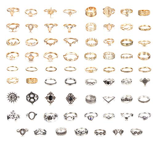 Udalyn 70PCS Vintage Knuckle Rings for Women Stackable Rings Set Gold Silver Joint Midi Finger Ring Hollow Carved Retro Boho Jewelry