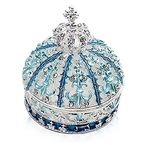 Caja de joyería, Pintado a Mano Esmaltado Azul Crown Crown Style Decorative Bished Jewelriny Box Box decoración del hogar (Color : Dark Blue)
