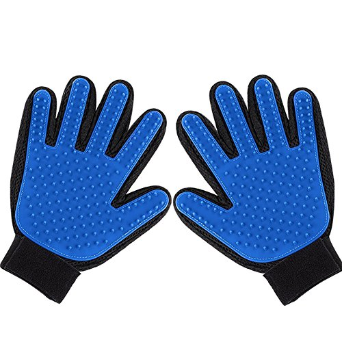 2PCS Pet Bürste Handschuh, Hepooya Haustier Fellpflege Handschuh Grooming Bürsten, Deshedding-Werkzeug Pflegenbürste Massage-Handschuh Fingerhandschuhe Bürste Gummi für Hund Katze