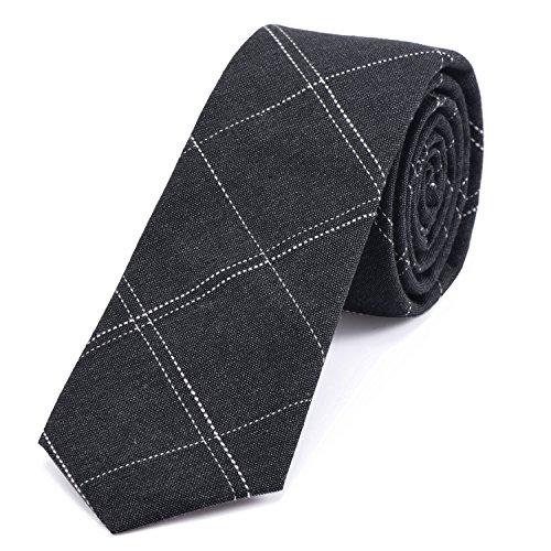 DonDon Herren Krawatte 6 cm gestreift Baumwolle anthrazit