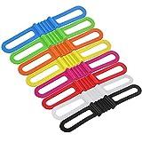LYTIVAGEN 8 PCS Linternas para Bicicleta con Cinta de Silicona, Soporte de Silicona para Bicicleta Multicolor Banda Elástica de Fijación para fijar Linterna, Teléfono Móvil en Bicicletas (14*2.2*1cm)