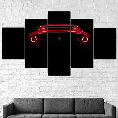 QZWXEC Coche Deportivo Trasero Ferrari Omologata/Cuadro En Lienzo 5 Piezas Decoración de Pared Sala Estar Dormitorio DecoracióN del Hogar Cuadro Pintura Arte Cartel Pared - Marco - Tamaño(150x80cm)