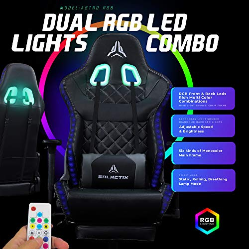 Galactix Astro Unique RGB Dual Lighting Gaming Chair Ergonomic Computer Gaming Chair with Lumbar Support Gaming Chair with Footrest LED Gaming Chair for Adults Gamer Chair Black/Grey