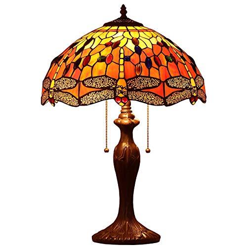 Bieye L30711 Lampada da tavolo in vetro macchiato in stile Tiffany Dragonfly con paralume largo fatto a mano da 16 pollici per comodino camera da letto da salotto, arancione, alto 23 pollici