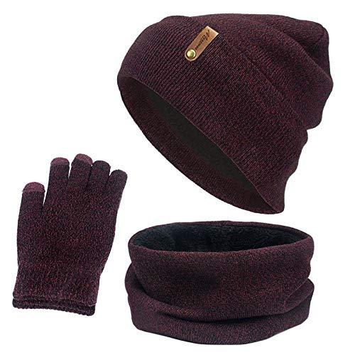 Schal Damen Gestrickte Wintermütze Schal Handschuhe Set Frauen Dicker Touchscreen Handschuh Mützen Ring Schal Weiblich Für Mädchen Geschenk-B