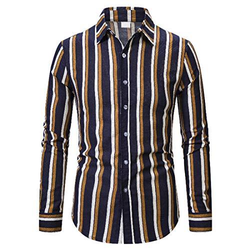 Camicia da Uomo Moda Manica Lunga Top a Righe Design Accattivante Monopetto Risvolto Camicia Casual da Uomo vestibilità Regolare Camicia Leggera Traspirante Camicia Hawaiana Shirt Festa L
