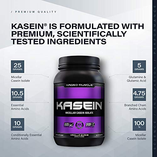 Kaged Muscle, Premium Kasein Protein Powder, Micellar Casein, Vanilla, Banned-Substance Free, Protein Supplement, Build Muscle, Boost Recovery, Casein, Vanilla, 25 Servings