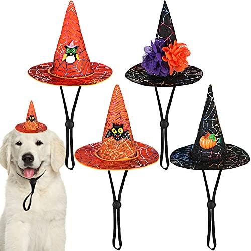4 Sombreros de Mascotas de Halloween Sombrero de Bruja Ajustable Sombrero de Bruja de Cono de Cosplay de Perro Gato con Adornos de Calabaza Murciélago Búho Flor Accesorio Disfraz Halloween