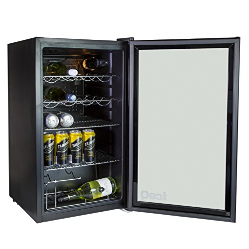 iceQ 93 Litre Under Counter Glass Door Display Beer/Wine Fridge - Perfect For Bar, Club, Restaurant & Hotel