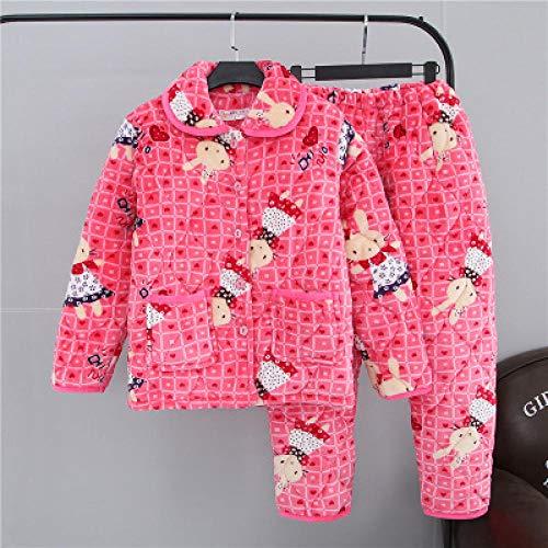 BAIMM Winter Coral Velvet Ladies Three.Layer Conejo Conejo Postre Engrosamiento Conjunto Acolchado Pijama Servicio a Domicilio.