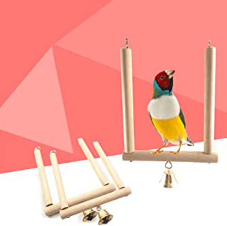 Rubyyouhe8 Bird Accessories&Bell Pet Parrot Swing Bird Cage Toy Wooden Suspension Bridge Hanging Decor Colorful Bird Parrot Toys Hanging Toy for Parakeets Cockatiels Small Pet
