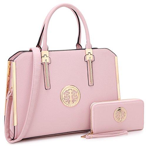 DASEIN Women Large Satchel Handbag Shoulder Purse Top handle Work Bag Tote With Matching Wallet (Pink)