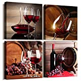 Kitchen Wall Art for dining room Wall Decor Still life wine Fruit goblet Canvas Prints Artwork Wine barrel bar watercolor painting family wall decorations restaurant bedroom Decor 4 piece set