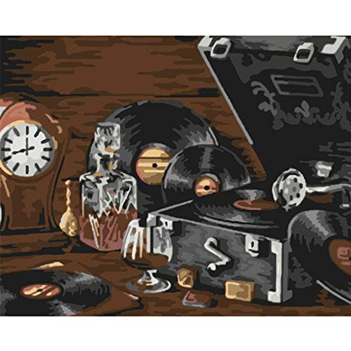 Alesx Digitale schilderij, zonder lijst, een ouderwetse platenspeler, stilleven, DIY, digitaal schilderen, op nummer, moderne muurkunst, canvas, schilderkunst, uniek geschenk voor wooncultuur