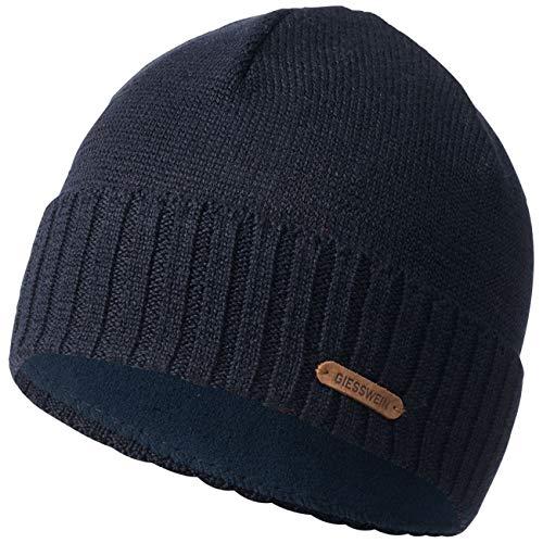 GIESSWEIN Mütze Wildgrat - Herren-Mütze aus Merinowolle, Teilgefütterte Beanie mit Fleece-Futter, Atmungsaktive Wintermütze mit Umschlag
