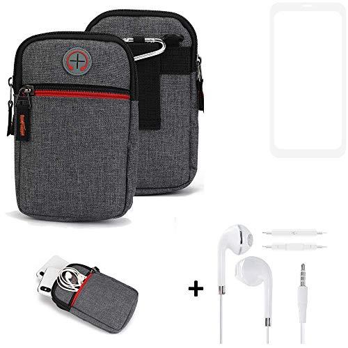 K-S-Trade® Gürtel-Tasche + Kopfhörer Für -Vestel V3 5580 Dual-SIM- Handy-Tasche Schutz-hülle Grau Zusatzfächer 1x