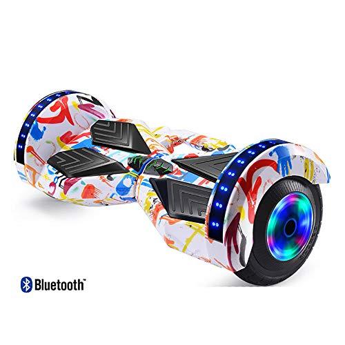 Nowsend led Inteligente Auto-Equilibrio eléctrico Coche niños Adultos Hoverboard Scooter Bluetooth al Aire libre-10.5in + Graffiti_Rueda sin Flash