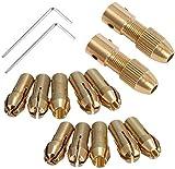 Broca eléctrica pequeña Collet Broca Micro Twist Drill Chuck Set Motor Eje con llave Allen 3.17mm Tapa de cobre (3.17mm X 2set)