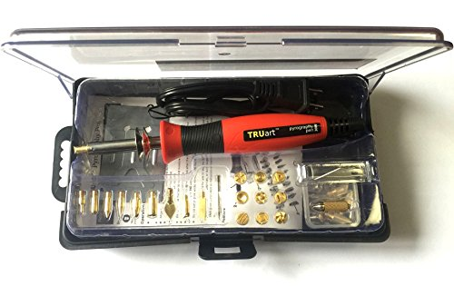 TRUArt Stage 1 Wood/Leather/Cardboard/Paper Pyrography Pen Set w/Jewelry Soldering Point - Best Woodburning Crafts Burner Tool Kit - Comes with 35 Different Tips, Dual Power Mode - 30W / 15W, Gourd