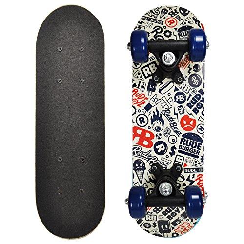 Rude Boyz 17 Inch Mini Wooden Cruiser Graphic Beginner Skateboard (Rude Boyz Design)