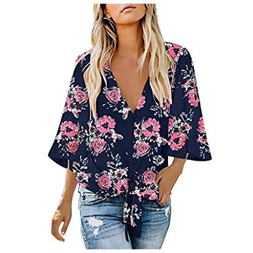 Find Bargain kaifongfu Womens Bown Down Shirts Long Sleeve V Neck Office Work Casual Blouse Tops(Gre...