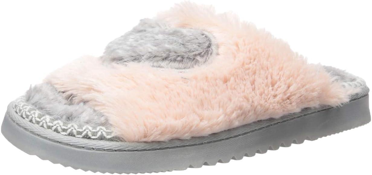 Dearfoams Women's Fluffy Heart Slide Slipper