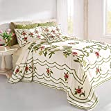 BrylaneHome Samantha Oversized Chenille Bedspread - Queen, Ivory Green