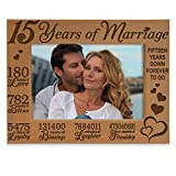KATE POSH - Our 15th Anniversary Engraved Natural Wood Picture Frame - 15 Years of Marriage, Fifteen Years Together, Wedding Anniversary Gift for Husband & Wife (4x6 Horizontal)