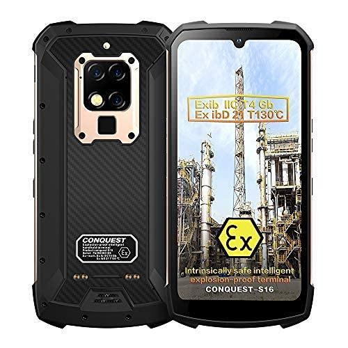 Smartphone Resistente, S16 ATEX Zone 1/2 Intrínsecamente Seguro IP68 a Prueba De Explosiones 4G Doble Tarjeta 48MP Cámara Triple AI 8 + 256GB Teléfono Móvil Desbloqueado (Oro, 256GB)