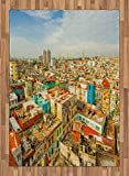 ABAKUHAUS Viaje Alfombra de Área, Ciudad de La Habana Casas, Tejida Acento Decorativo para Sala de Estar o Dormitorio, 160 x 230 cm, Multicolor