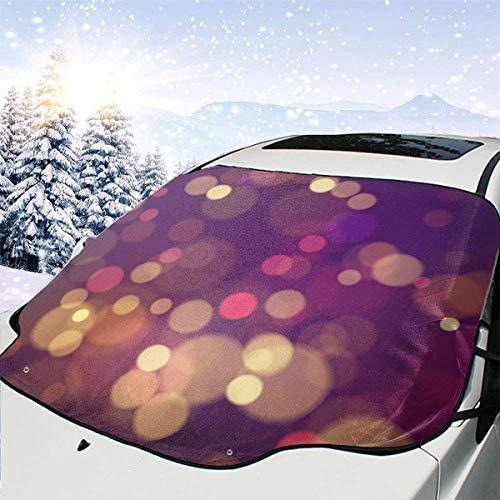 Tcerlcir Cubierta de Nieve para Parabrisas de Coche Fondo de Bokeh Colorido Magia Festiva Borrosa Cubiertas de Nieve para Parabrisas automotrices para Suvs Mpvs Mantiene la Nieve apagada, 147x118cm