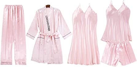 Satijnen pyjama set voor dames, 5 stuks pyjama bretels shorts pak vrijetijdskleding, V-hals sexy nachthemd, elegante pyjam...