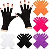 5 Pairs Nail Gloves UV Shield Glove Gel Manicures Fingerless Anti UV Gloves Protect Hand from UV LED Light Lamps Gel Polish Drying Nail Art Mittens (Black, White, Rose Red, Orange, Purple)