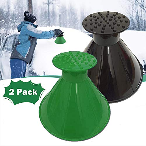 YHHAFSFW Ice Scraper, 2 Pack Ice Scraper for Car, Magical Round Car Windshield Ice Scraper, Cone-Shaped Ice Scraper with Funnel and Ice Breaker for Car Windshield and Window Snow Removal