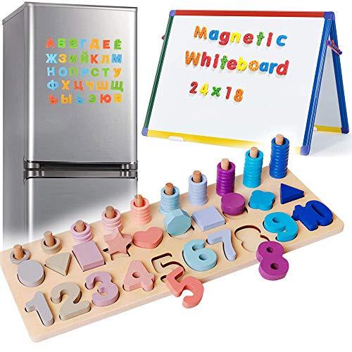 3 en 1 Juego Matematicas Infantil Magnéticos de Madera para Niños Aprendo Las Numeros Magnéticos para Niños Pequeños Rompecabezas de Madera Con Letras Mayúsculas y Números Rompecabezas Educativos Blo