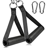 COYKIRK Resistance Bands Handles with TPR Waffle Grip, Heavy Duty Fitness Handles with Carabiners, Exercise Grips with Solid ABS Cores for Home Gym Strength Training Stretching, Upgraded (2PCS Black)