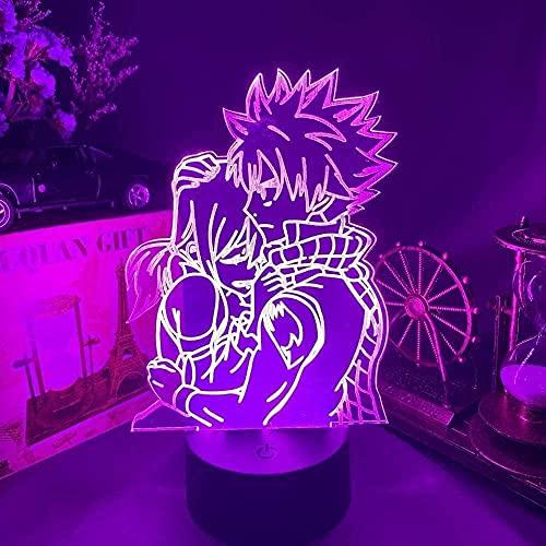 ilusión óptica 3D LED Luces nocturnas La figura japonesa de la cola de hadas representó el sexo de ensueño otaku para hombres, mujeres, niños, niñas, regalo Cambio de color colorido, con inter