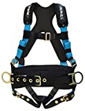 Tractel EBB95L/X TracX Construction Harness with Tongue and Buckle Legs, Large, Blue/Black