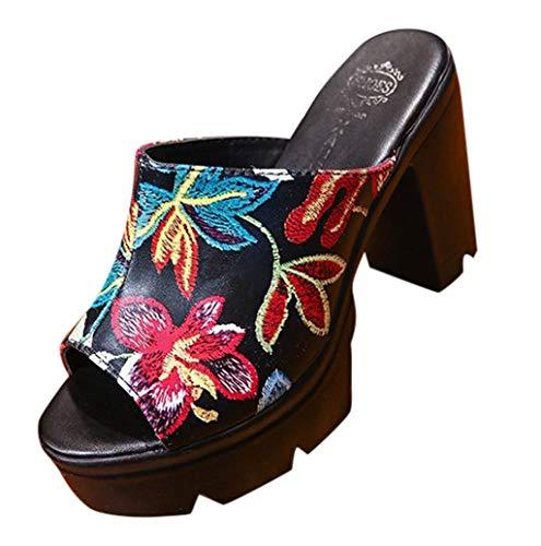 Damen Sommer Keilabsatz Plateau Offene Mule Sandalen mit Blockabsatz Peep Toe Offen High Heels Pantoletten mit Blumenmuster Mode Schuhe Elegant Sommerschuhe TWBB