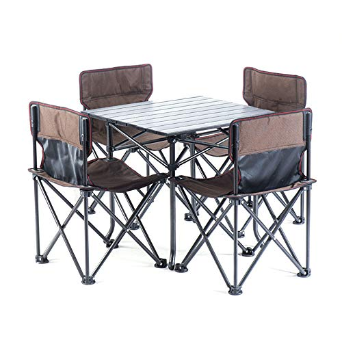 Table pliante utilitaire La Table De Jeu Sac Portable Pliable Chaises Chaise Portable Léger Extérieur Camp + 4 Tableau 1 Une Taille Compacte For Les Voyages De Camping Barbecue Bureau mobile