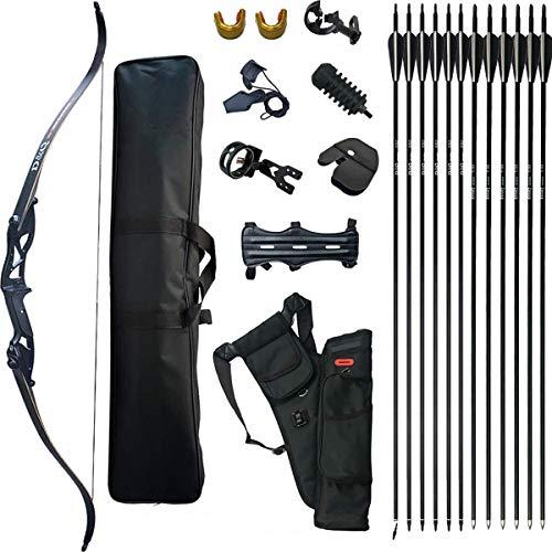 D&Q Takedown Recurve Pfeil und Bogen Set Erwachsene Kit Bogenschießen Jagd Schießen Ziel Trainieren Wettbewerb Langbogen Paket 30 35 40 45 50 lbs Rechte Übergeben (50lbs)