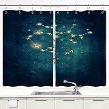 JISMUCI Cortina de Cocina Constelación de Acuario Juegos de Tratamiento de Ventanas Cortinas 2 Paneles con Ganchos,140x100CM