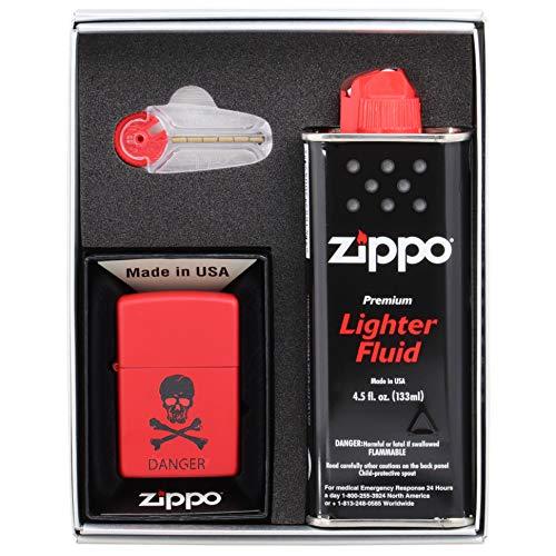 (ユーエス ジッポー) US Zippo オリジナル ライター Z233-411895 NEWギフトボックスセット (オイル小・石付き) スカル ドクロ レッド