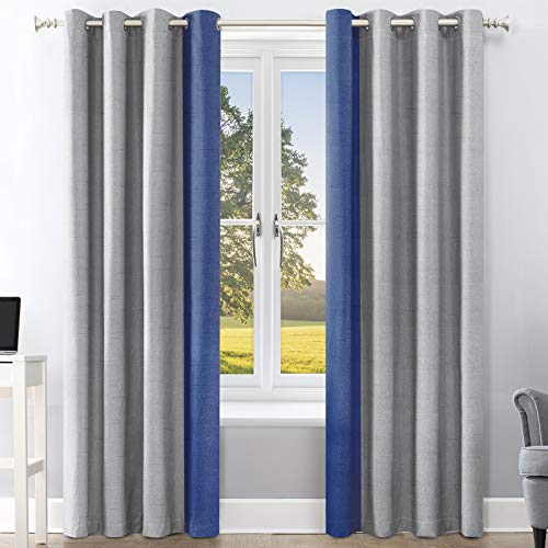 Linen Curtains 96 Inches Long For Bedroom, Color Block Grommet Black Out Curtains For Light Blocking, Insulated Thermal Room Darkening Living Room Curtains, Noise Reducing Drapes Set of 2 Panels 52x96