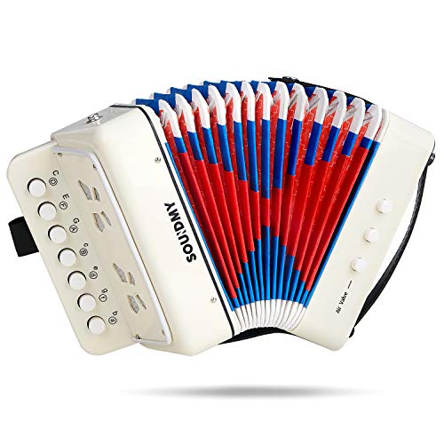 Souidmy Kids Accordion 10 Keys Button Accordion Toy Accordian Mini Musical Instrument for Early Childhood Teaching Good Gift for Family Beginners