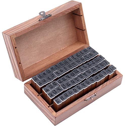 Panngu 70 Stücke Buchstaben Stempel Set, Alphabet Gummi Holz Stempels mit Vintage-Stil Aufbewahrungs Box, Letters Ziffer und Interpunktionen Zahlen Geburtstag für Advent