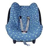 BAOBABS BCN - Funda de Algodón para Silla de Coche de Bebé | Grupo 0 - Universal | Protección transpirable y cómoda | Color Blue Mint Waves