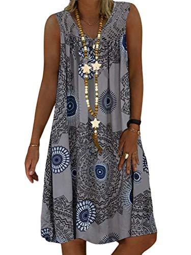 Minetom Sommerkleid Damen V-Ausschnitt Strandkleider Einfarbig A-Linie Kleid Boho Knielang Kleid Ärmellos T-Shirt Kleid A Grau L