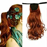 iLUU 20' Long Curly Wrap Around Ponytail Hair Extension 90g Synthetic Wig Hair Hairpiece #119 Copper Red Orange Fashion Wavy Tie Up Clip in Pony Tail Hair Pieces for Cosplay